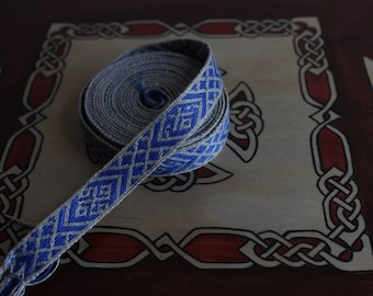 Hand Woven Tablet Weaving White and Blue Birka 9