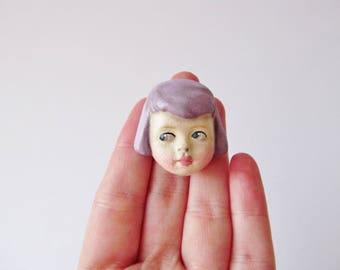 Antique Doll Brooch Sophie - Handmade Paperclay Doll Pin