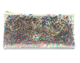 White Confetti Clutch! - glitter clutch, sparkle clutch, fun clutch, made in Brooklyn, celebration clutch, gift clutch