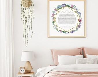 Succulents Bouquet Ketubah Print