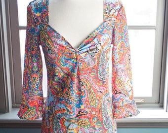 Technicolor dreams ... Vintage psychedelic hippie paisley summer dress
