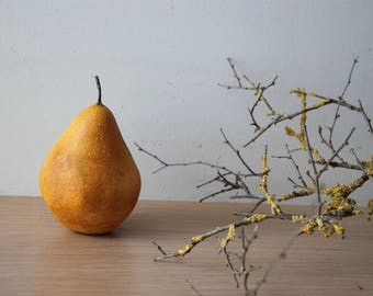 Ceramic pear sculpture, life size yellow ceramic pear, earthenware clay pear painted with acrylic and varnish, new rustic decor pear