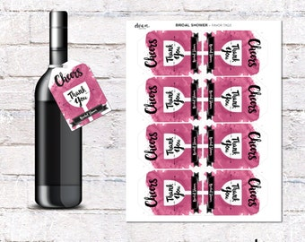 Wine Bridal Shower Favor Tags - Bridal Shower Wine Party. DIY Printing *INSTANT DOWNLOAD*