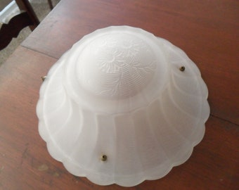 Vintage Ceiling Light Shade~Round Shade~Frosted Glass