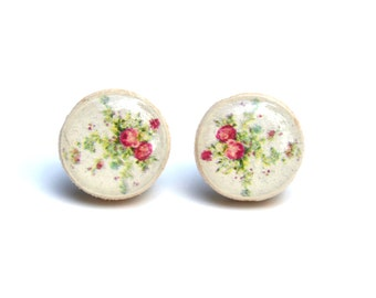 White flower stud earrings. Floral stud earring. Flower studs. Wood earrings. Wood stud earrings. Starlight Woods