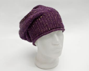 Slouchy beanie hand knitted hat. Women accessories fall-winter fashion. Purple hat. Beautiful handmade.