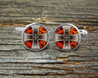 Steampunk Cross Red Orange Silver Silver or Gold Cufflinks-Wedding-Jewelry Box-Silver-Keepsake-Gift-Man gift-Graduation-Men-Goth-Geek-Gothic
