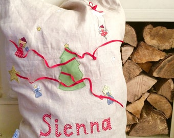 Fairy Christmas freehand embroidered large sack
