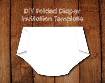 Items similar to diy diaper invitation template with instructions folded diaper invitation diy template with instructions how to make your own diaper shaped baby filmwisefo Image collections