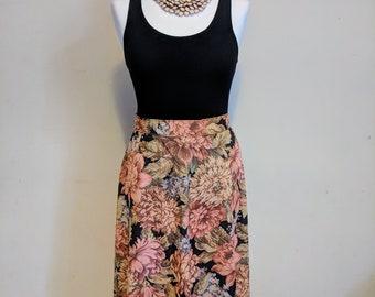 80s C&A pink, orange and black digital tapestry flower print knee length vintage summer skirt. 30 inch waist.