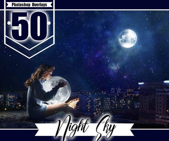 50 Starry Night Moon Sky Overlays Romantic Beautiful Sky