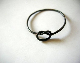Knot Sterling Silver Ring. Knotted Oxidized Sterling Silver Ring. Handmade knuckle ring