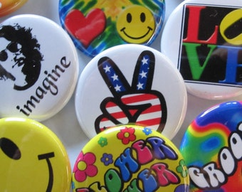 24 Pin Pack GROOVY BUTTONS-Colorful Hippie Peace and Love Pins 24 Button Pack 1.25 inch Quality Pin-Back Buttons