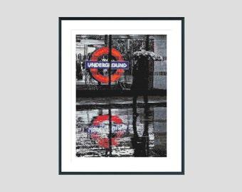 Cross stitch pattern, modern cross stitch pattern, london cross stitch pattern, city cross stitch pattern, instant download