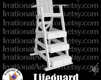 Lifeguard Tower - 1 EPS SVG & PNG clipart graphics + Small Commercial License beach rescue buoy chair beach life guard [Instant Download]