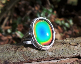 Sterling Silver Mood Ring, Mood Ring, 925 Mood Ring, Silver Mood Ring, Rainbow Ring, Boho Ring, Mood Ring, Color Changing Ring