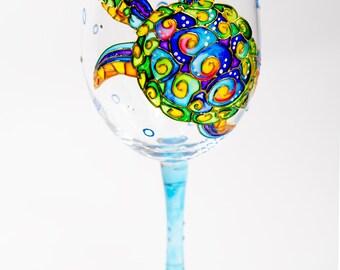 Sea Turtle Wine Glasses Beach Themed Wine Glasses, Beach Bridal Shower Bridesmaid gift Tropical Wedding Glasses Toasting glasses, Wine Gift