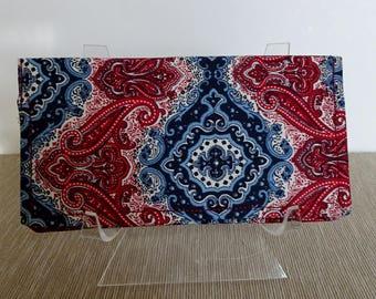 Checkbook Cover, Checkbook Wallet, Blue & Red Bandana Print Fabric, Americana Fabric, Checkbook Organizer, Billfold Wallet, Receipt Wallet