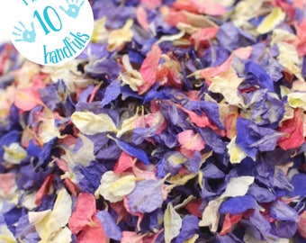 1 Litre approx 10 guests Natural Wedding Confetti Eco-Friendly Biodegradable Dried Delphinium Petals Very Berry, in Organza Bag