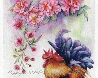 """PRINT – Rose & Rooster  Watercolor painting 7.5 x 10.3"""""""