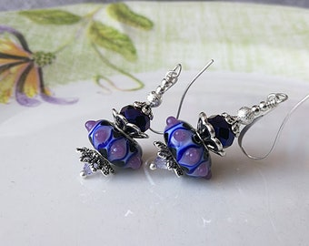 Purple Glass Earrings Lampwork Earrings Glass Bead Earrings Glass Earrings Beadwork Earrings Bright Color