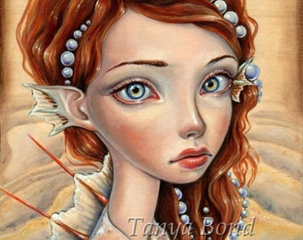 Water Nymph - nymphs on wood - 5x7 print of an oil painting by Tanya Bond - surreal pop - big eyed fantasy mermaid