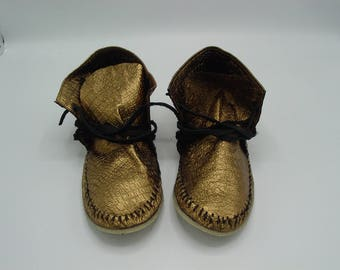Bronze  Leather Moccasins