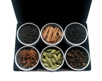 CHAI TEA KIT, sister friend gift, for her, Indian tea kit, tea sampler, foodie gift, tea lover, black tea, organic tea, gift box, tea bags