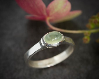 Sterling Silver and Prehenite  Ring, Size 8.25 Ready To ship