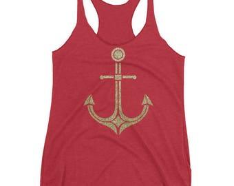 Gold Anchor women's tank top
