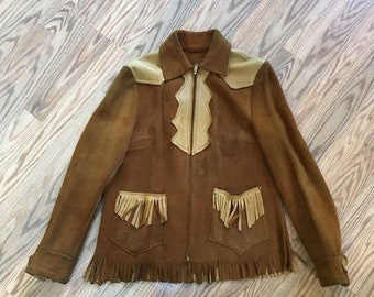 Vintage Suede Leather Jacket w/ Fringe Western Cowboy Cowgirl Ladies M