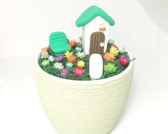 Miniature Cottage with Real little flowers Little Fairy Bloom set. Terrarium Desk Accessory