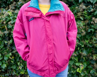Vintage 90s Columbia Ski Jacket | Colorblock BUGABOO Pastel Hipster Windbreaker | Lightweight Pink and Teal Jacket