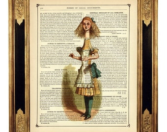 Alice in Wonderland Grows Dress Dictionary Art Poster - Vintage Victorian Book Page Art Print Steampunk