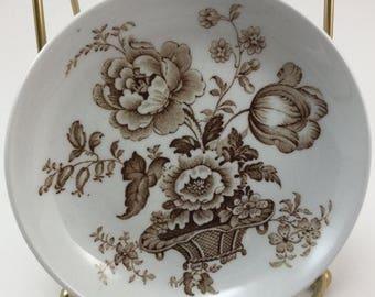 Sale Vintage Alfred Meakin Charlotte Brown Staffordshire England Coaster Saucer Ring Dish Jewelry Holder Trinket Dish Ring Holder