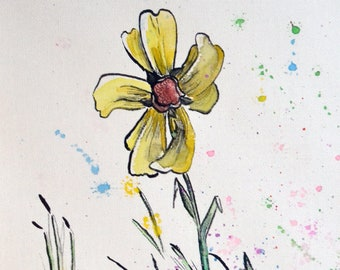 Happy Daisy Canvas Drawing