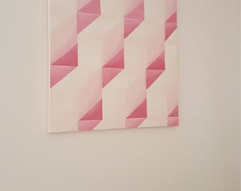 "Geometric Original Pink and White Painting; Modern Dorm Wall Decor; 20""x20"""