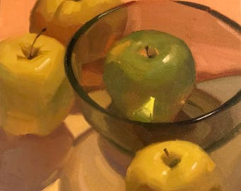 """Art painting still life by Sarah Sedwick """"Green on the Inside"""" 8x8 oil on canvas"""