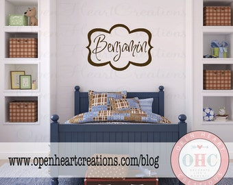 Name Wall Decal - Initial and Name Vinyl Wall Decal for Girl or Boy Baby Nursery Bedroom Teen Modern Simple 22H x 32W FN0310