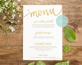 gold wedding menu download // custom designed handwritten printable // wedding reception decor // gold wedding menu digital design
