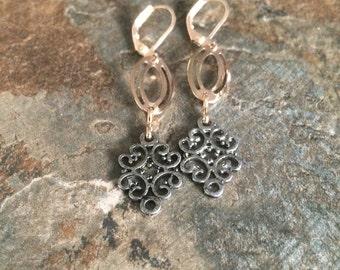 Pale copper mixed metal dangle earrings