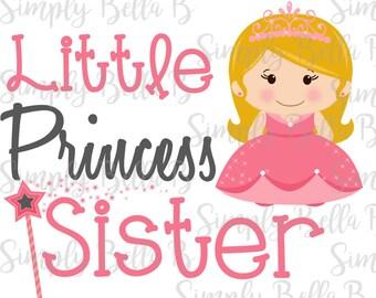 Little Princess Sister INSTANT DOWNLOAD Printable Digital Iron-On Transfer Design - DIY