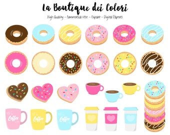 60 Doughnut Clipart, Cute Digital illustrations PNG, donuts and coffee sweets, food Clip art, Planner Stickers Commercial Use