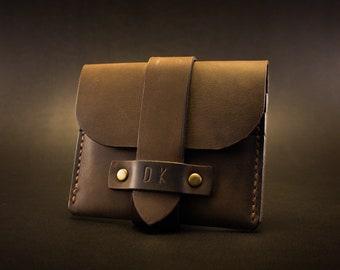 Handmade minimalist leather wallet, distressed wallet card holder
