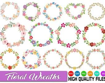 Floral wreath SVG - Floral frames SVG - Laurel wreath SVG - Floral circle svg - Floral ornament svg - Wedding decoration - Flowers svg