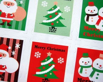 Christmas Stickers / Labels / Embellishment for Packaging / Scrapbooking / Card-making - Stamp Labels