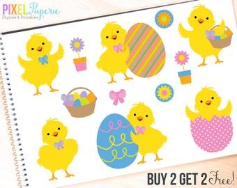 easter clipart chicks clip art digital - Easter Chicks Digital Clipart - BUY 2 GET 2 FREE