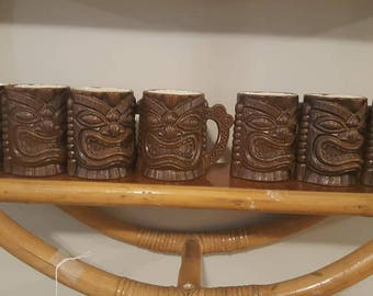 Set of 7 Orchids of Hawaii Handled Tiki Mugs