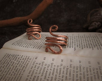 Celtic historical spiral ring in hammered copper yule solstice gift idea pagan wiccan engagement elf elves lotr rustic for her for him