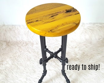 Yellow Stool, Reclaimed Wood Stool, Plant Stand, Counter Stool, Farmhouse Stool, Bistro Bar Stool, Tall Round Stool, Rustic Stool, Pipe Legs